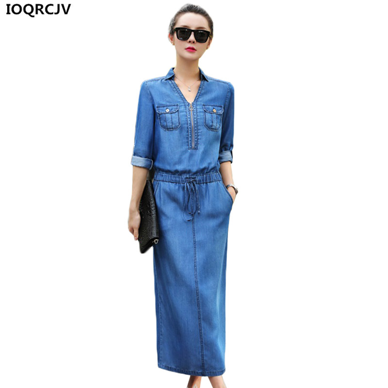 Nowy koreański wersja kobieta Denim sukienka z dekoltem w serek talia Lace up na co dzień szczupła seksowna letnia sukienka kobiece Tencel Jeans długa sukienka AA123 w Suknie od Odzież damska na AliExpress - 11.11_Double 11Singles' Day 1
