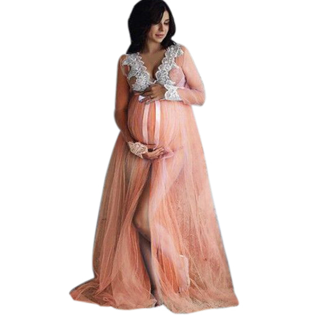 Dress For Pregnant Women Lace Maternity Pink Dress Women Pregnancy Lace Long Maxi Wedding Evening Dress Plus Size Q852 Dresses Aliexpress