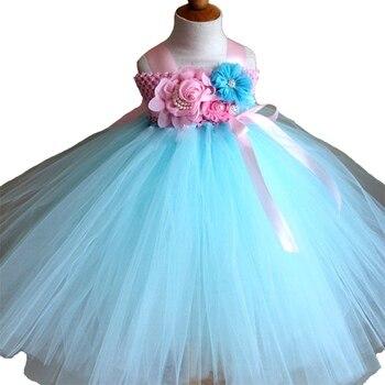 Princess Flower Girl Dresses Floral Ankle-Length Light Blue For 2-10T Girl Tutu Dress Ball Gown Dress For Wedding/Birthday Party