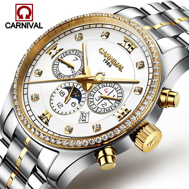 Здесь можно купить  Fashion Three Dial Design Stainless Steel Golden Men Luxury Brand Automatic Mechanical Watches Moon phase Waterproof Luminous  Часы