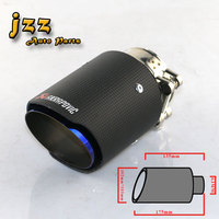JZZ akrapovic car exhaust tip matte carbon fiber auto tail pipe car stainless steel inside pipe for 2.5inch