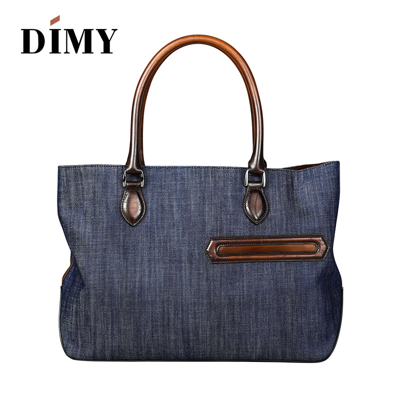 DIMY Stitching Large Capacity Casual Canvas Bags Leather Handbag Fashion Denim Totes Bag Men Document Shoulder Messenger
