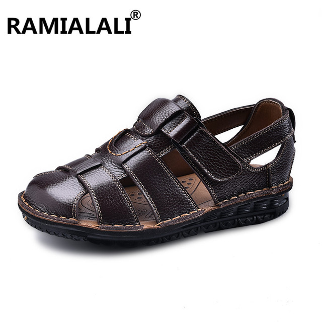 Ramialali Summer Men Real Leather Sandals Gladiator Closed Toe Daily Beach Shoes Light Soft Male