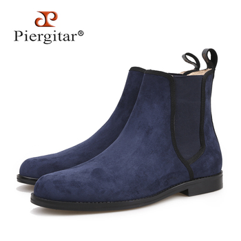 Piergitar New arrival Made by hand classic style Men CHELSEA Boots British style Navy Suede Men's casual boots Martin boots