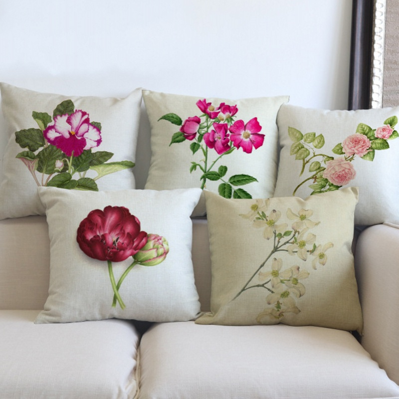 Sofa Throw Pillow Nordic Rose Peony Orchid Flowers Print Elegant Cozy Home Decoration Pillowcase 45x45cm Car Cushion Cover Cases