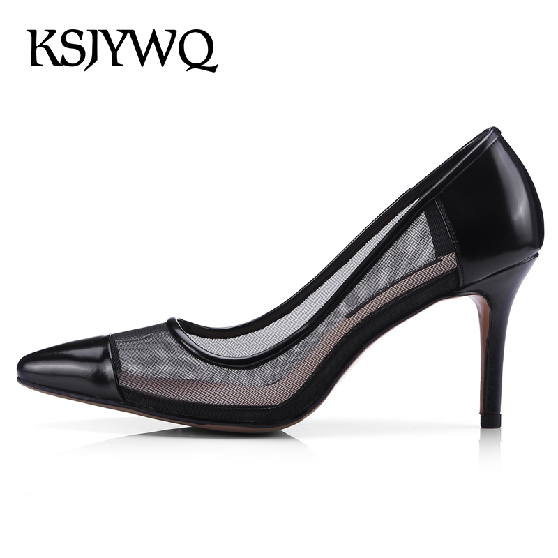 KSJYWQ Sexy Ladies Women Pumps Black Lace 8CM High Heels Pointed-toe White Wedding Shoes Slip-on Woman Stiletto Box Packing A308 sexy suede transparent pvc patcchwork women pumps pointed toe slip on stiletto high heels plexi pumps party ladies shoes woman
