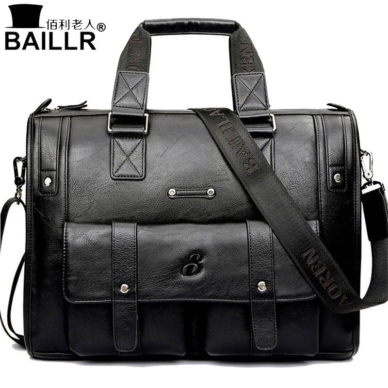 цены BAILLR Brand Man Bag Black Briefcase Men Business Handbag Messenger Bags Male Vintage Men's Shoulder Bag Large Capacity 2018new