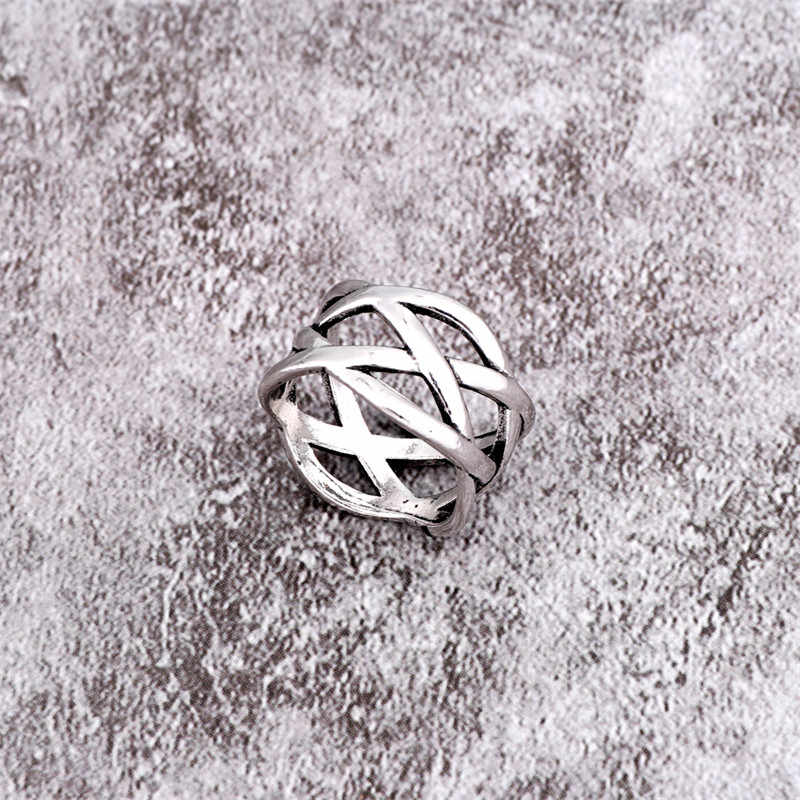1 PC Punk Cool noir chauve-souris animaux anneau ouvert hommes femmes bijoux Vintage argent couleur creux Abacus multicouche anneau de tissage R130