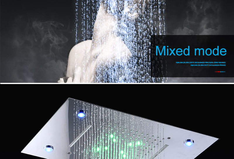 hm Shower System Double Waterfall Rainfall Large Ceiling LED Rain Shower Head Recessed Automatic Color Change Thermostatic Tap (6)