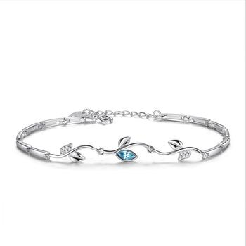 Everoyal Fashion Blue Leaf Crystal Bracelets For Girls Jewelry Trendy Women 925 Sterling Silver Bracelets Female Accessories Hot everoyal vintage crystal pearl earrings for women accessories trendy 925 sterling silver earrings jewelry female geometric bijou