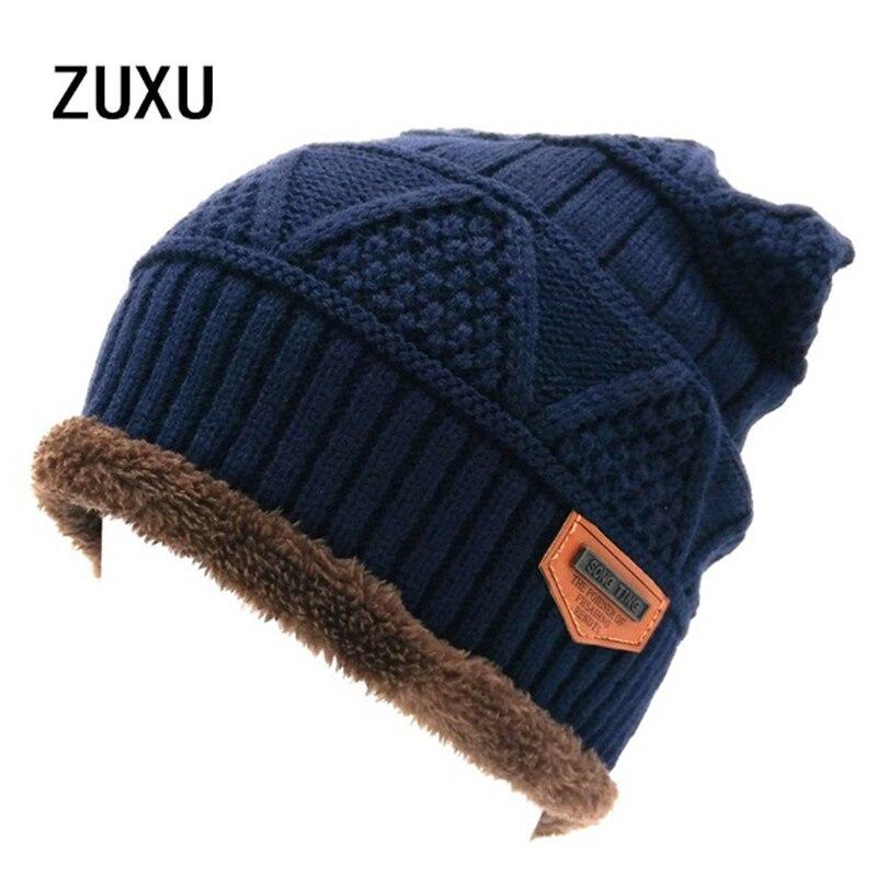 Men's Skullies Hat Bonnet Winter Beanie Knitted Wool Hat Plus Velvet Cap Thicker Mask Fringe Beanies Hats for men skullies