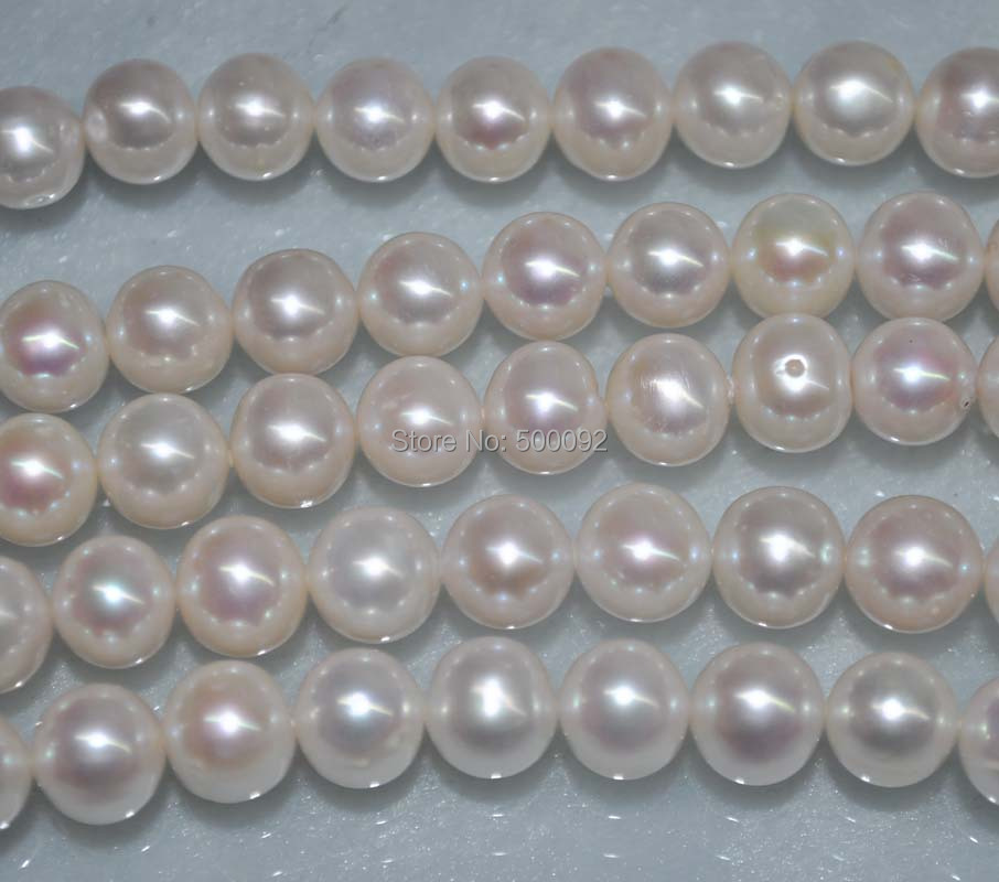 AA 11mm white cultured freshwater pearl strand 40cm Free shipping 16 inches aa 10 11mm natural white round freshwater pearl loos strand
