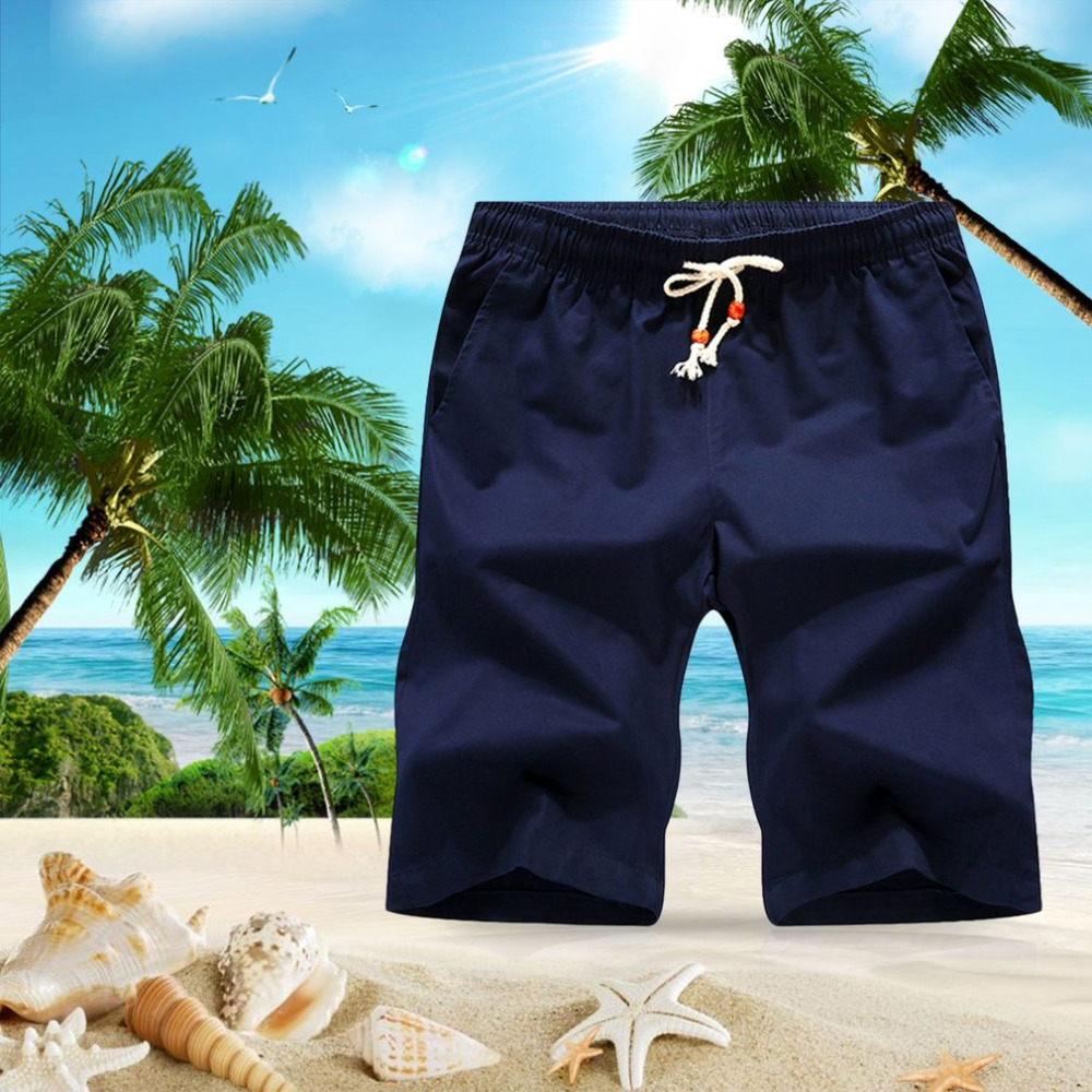 Elastic Waist Thin Cotton Men Beach Shorts Loose Casual Short Pants Breathable Male Short Pants Knee Length men Shorts Plus Size
