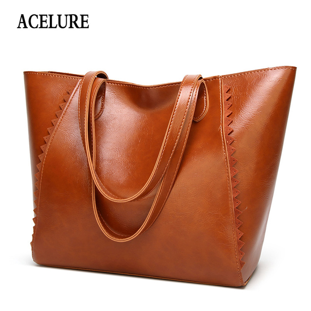 ACELURE Large-capacity women s handbag Casual Totes Women bag Simple  shopping big Shoulder bag for Women Classic Oil wax Leather ef6fe29acbfc3