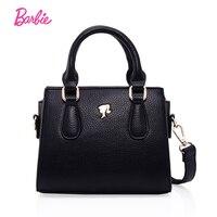 Barbie 2018 Popular Women Shoulder Bags Handbag Fashionable black Leather Bag Single Strap Female Trapeze Bag Large Capacity