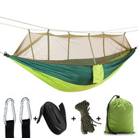 Outdoor Camping Hammock With Mosquito Net Tree Ropes Carabiners For Travel Hiking Beach Backyard Backpacking Sleeping Bag Bed