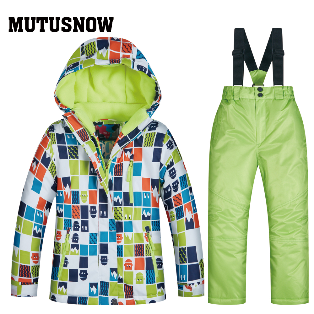 2019 Ski Suit Children's Brands High Quality Skiwear Windproof Waterproof Girls Boys Snow Pants Warm Child Winter Snowboard Suit