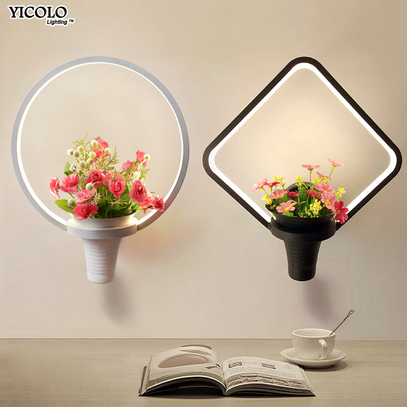 Wall Lamps white black color LED indoor art flower basket for living room bedroom bedside aisle lamp wall lights home deco