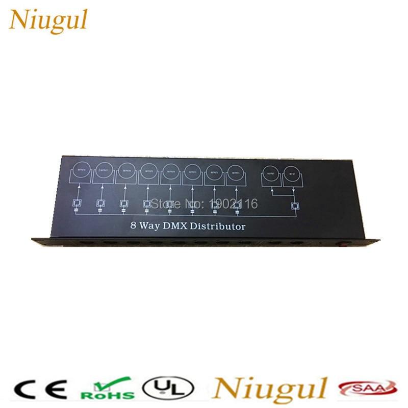 Niugul 8CH DMX Splitter/DMX512 Light Stage Light Signal Amplifier Splitter/8 Way DMX Distributor