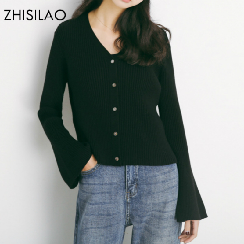 ZHISILAO 2018 Sweaters Woman Sweater Cardigan Woman Poncho Sweater Cashmere Pull Femme Hiver Solid Sweater Short Cardigan Black