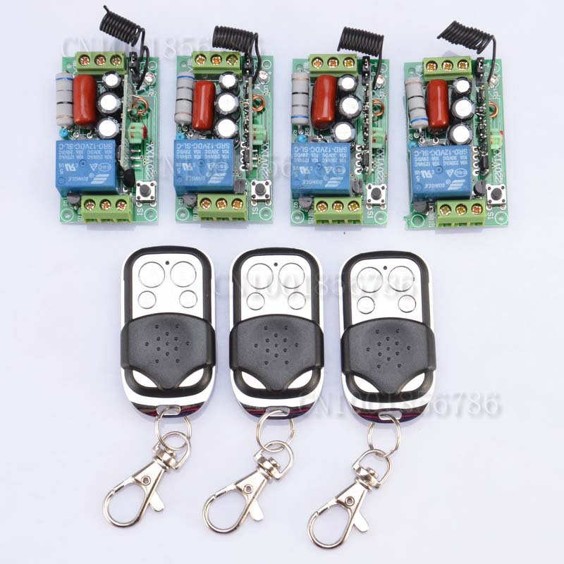 AC220V 1CH 10A wireless remote Control Switch 4Receiver 3Transmitter Learning Code Momentary Toggle Latched 3ch wireless remote control switch system ac 85v 250v 30a learning code toggle momentary led on off wireless switch sku 5498