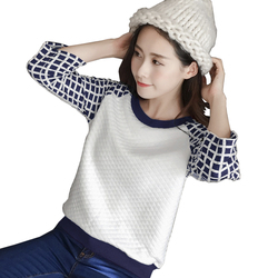 2017 autumn women korean pullover shirt white blue plaid crop tops o neck half sleeve tracksuit.jpg 250x250