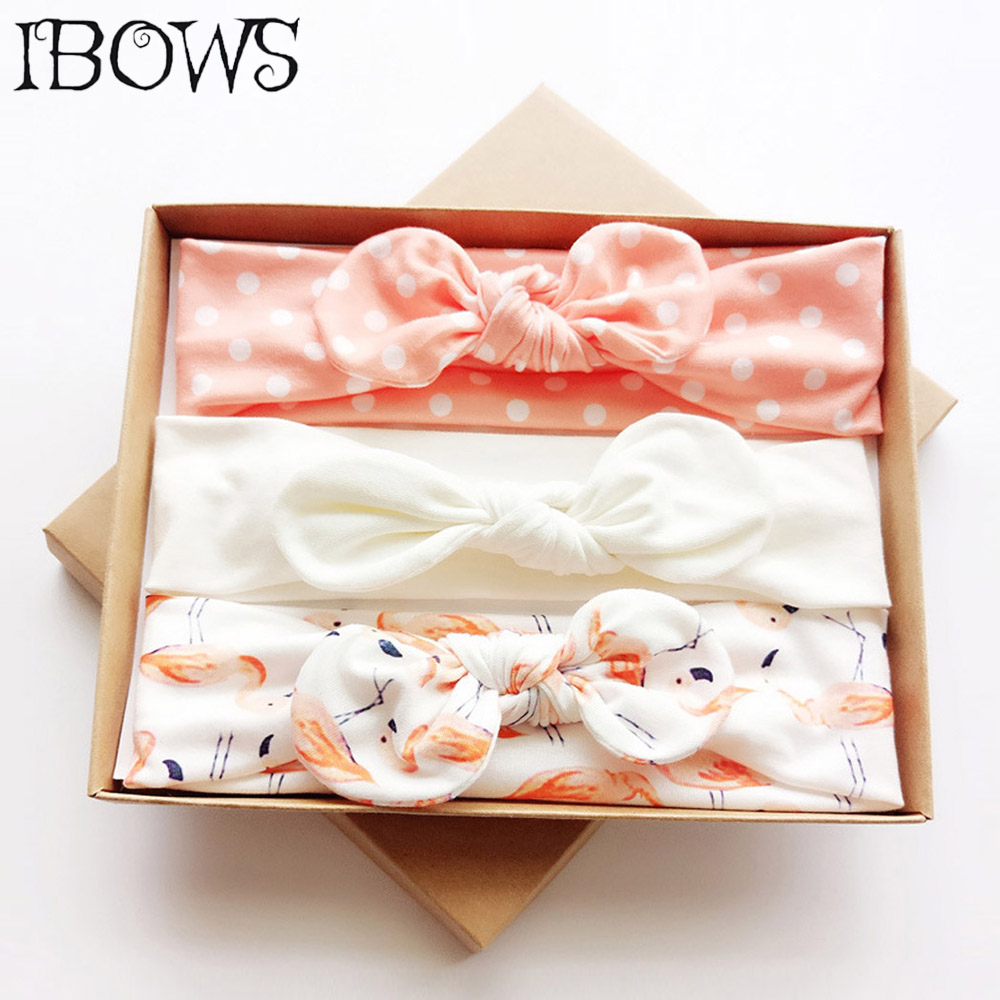 3Pcs/Set Mermaid Print Cotton Headbands Cute Knotted Dots Bows With Stretch Head Band For Kids Handmade   Headwear   With Gift Box