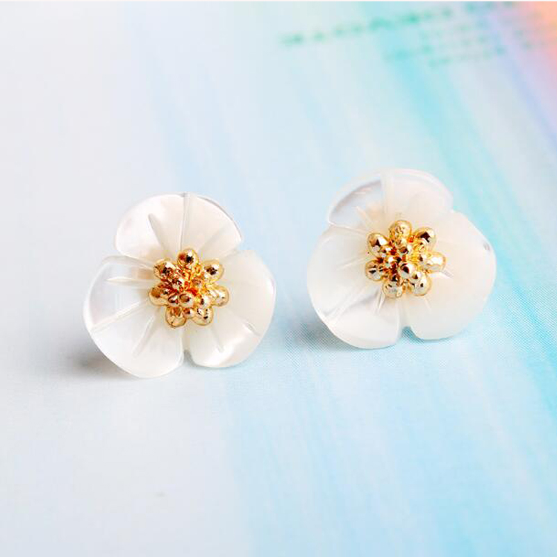 New Hot Fashion 925 Sterling Silver Shell Clover Flower Earrings for Women Girls Gift Fashion Statement Jewelry Brincos XY-E121