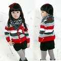 Girls Sweaters Long Sleeve Striped Knitted Cardigans For Girls Kids Tops Preppy Style Children Outerwear Coats 2 4 5 6 7 8 Years