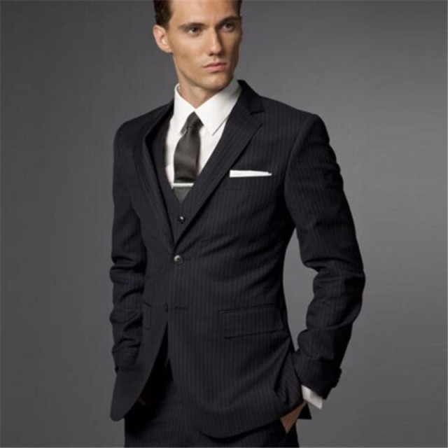 Slim Fit Groom Suit Wedding Suits For Men Striped Tuxedo Tailored 3