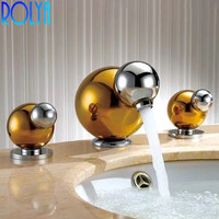 ROLYA Luxurious Villa Decor Golden Three Holes Basin Mixer Tap 8 inch Widespread Gold Bathroom Faucet