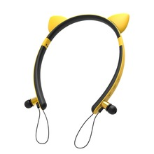 Cute cat ear Bluetooth/Wireless Headphones/headsets Magnetic adsorption wireless earphones with microphone Ear detachable design