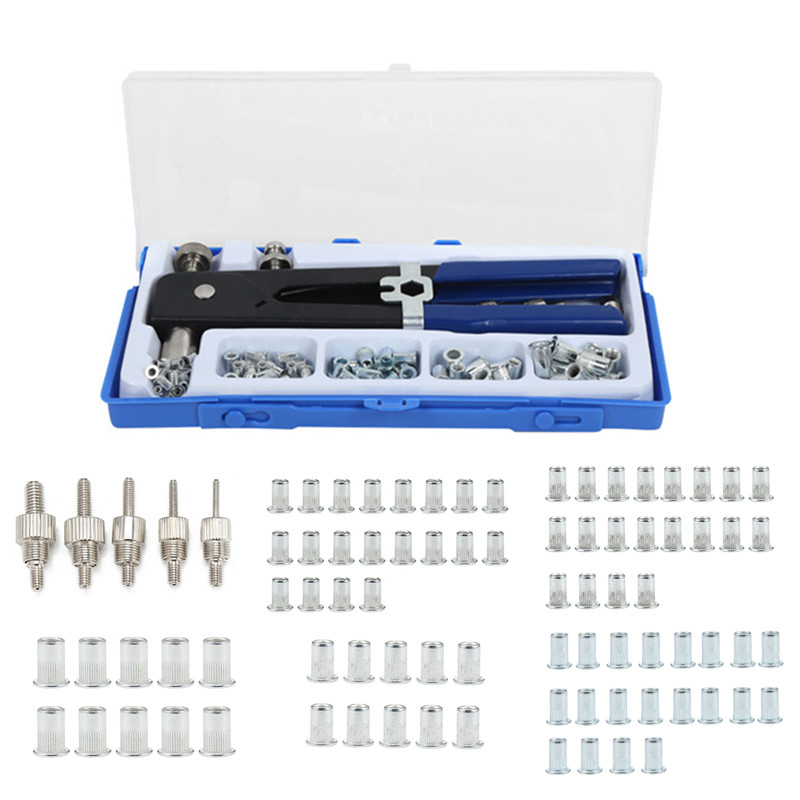 86 Pcs Hand Riveter Nut Rivet Guns Kit M3-M8 Manual Threaded Nut Rive Tool Set Stainless Steel Nuts Metric Thread For Screws