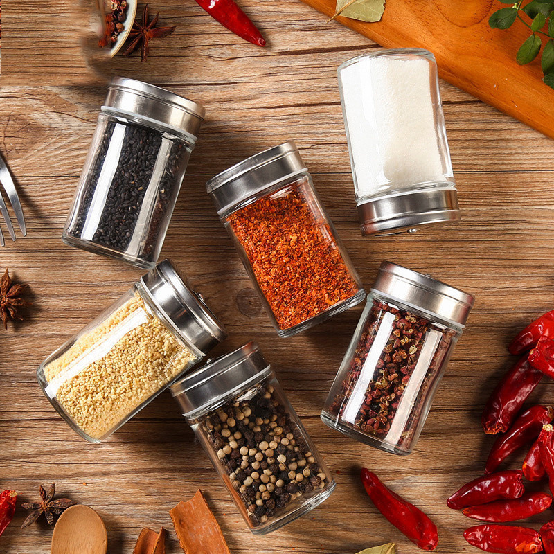 Glass Spice Storage Bottle Shaker Seasoning Jars BBQ Cooking Herbs <font><b>Container</b></font> Organizer Kitchen Gadgets Accessories Supplies image