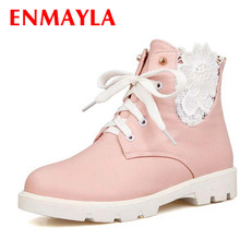 Lace-Up Ankle boots Flowers Round Toe Martin White; Pink; Black New Square heel Platform girl Boots shoes PU NEW