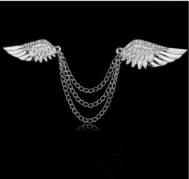 Tip Top Jewellery: Top Quality Silver Rhinestone Angel Wing Tassel Chain Shirt Collar Pin Neck Tip Brooch Pin Chain