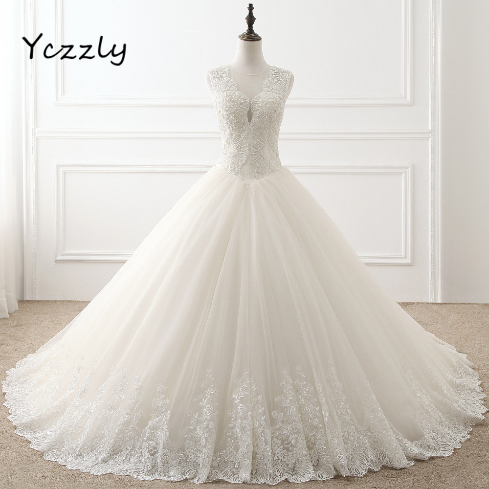 Gorgeous Ball font b Gown b font Puffy Lace Appliques font b Wedding b font Dress