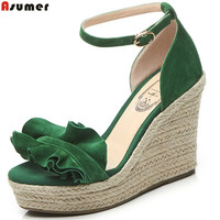 Asumer Black Green Fashion Summer Ladies Shoes Buckle Casual Prom Shoes Wedges Shoes Platform Women Suede