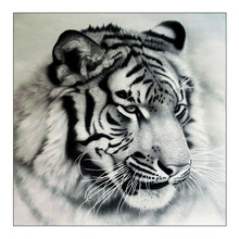 White tiger head Diamond Painting Full Round animal New DIY Sticking Drill Cross Embroidery 5D simple Home Decoration