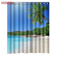WONZOM Azure Sky Blue Sea Curtain với 12 Hooks Cho Phòng Tắm Trang Trí Nội Thất Cảnh Quan Hiện Đại Tắm Rèm Chống Thấm Nước Phụ Kiện Phòng Tắm