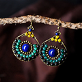ethnic earrings for women trendy style blue natural stone bronze green black agate water drop hook vintage jewelry new arrival