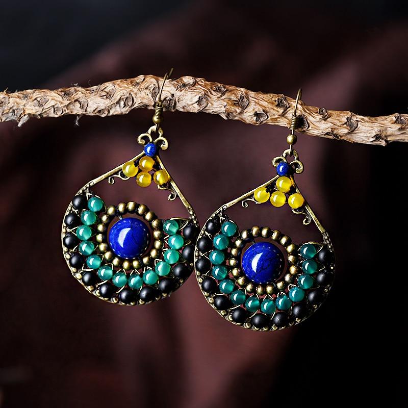 ethnic earrings for women trendy style blue stone bronze green black synthetic carnelian water drop hook vintage jewelry 2018