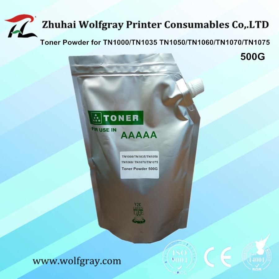 Compatible con 500g de polvo de Tóner para hermano TN1035 TN1000 TN1050 TN-1050 TN1060 TN1070 TN1075 TN-1075 para HL-1110 HL-1111 HL-1118