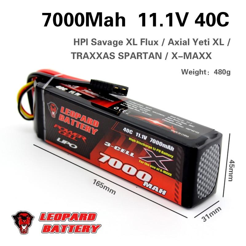 2PCS LEOPARD Lipo 3S 7000mAh Lipo 11.1V Battery Pack 50C Battery for 1/10 Car 1/8 RC Car for Traxxas E REVO SLASH HPI FLUX NERO