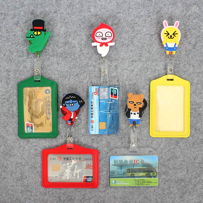 Cute H-Hop Silicone card case holder Bank Credit Card Holders Card Bus ID Holders Identity Badge with Cartoon Retractable Reel hot portable silicone bus card case holder cute cartoon kitty cat care student id identity badge credit cards cover with lanyard