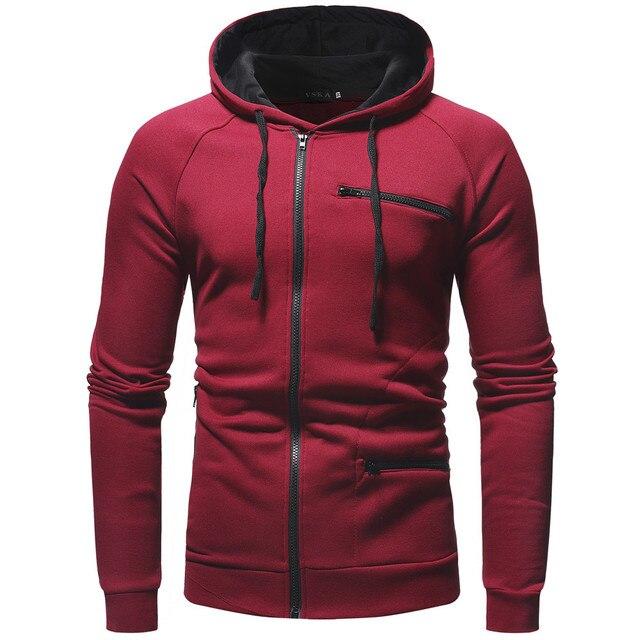3334d00f0 Men's Long Sleeve Hoodie Sweatshirt Tops Autumn Winter Casual Zip Up  Outerwear Sweatshirts sudaderas para hombre Men Clothes