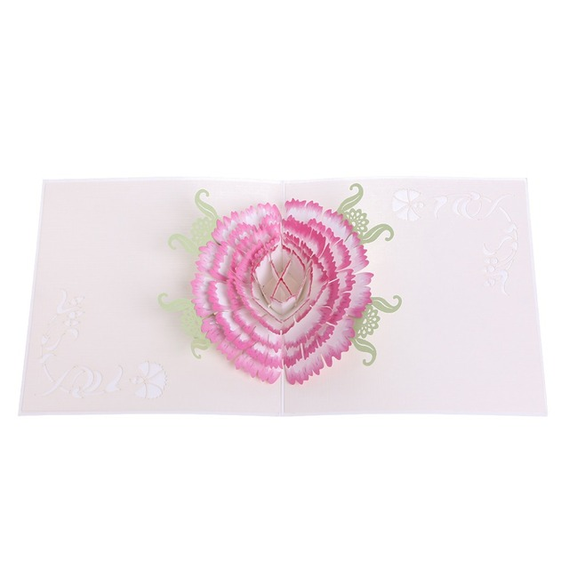 Carnations 3d Greeting Card Pop Up Paper Cut Postcard For Birthday