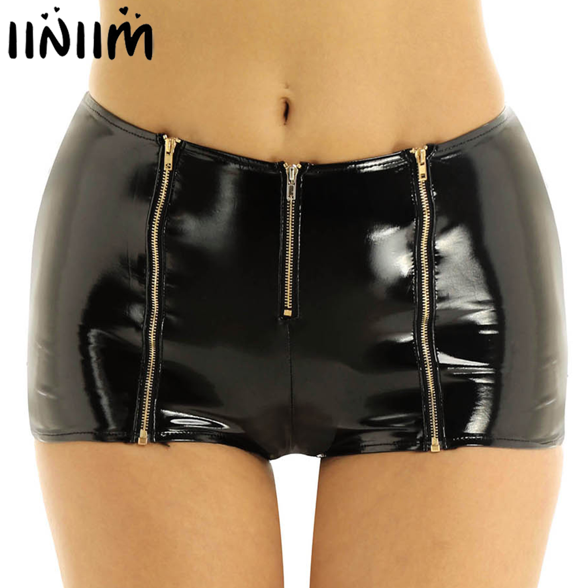 Iiniim Womens Femme Punk Pole Dance Party Clubwear Wetlook Shorts Patent Leather Front Zipper Low Rise Mini Shorts For Costumes