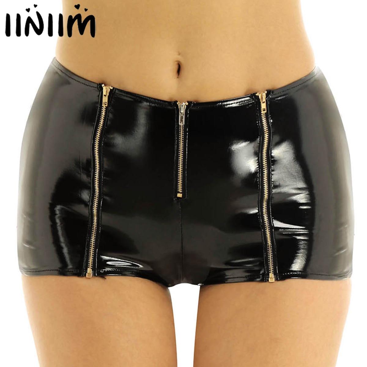 Iiniim femmes Femme Punk Pole danse fête Clubwear Wetlook Shorts en cuir verni avant fermeture à glissière taille basse Mini Shorts pour Costumes
