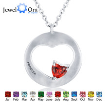 Customized Birthstone Engrave Pendants Necklaces Coronary heart Form 925 Sterling Silver Necklaces & Pendants (JewelOra NE101300)